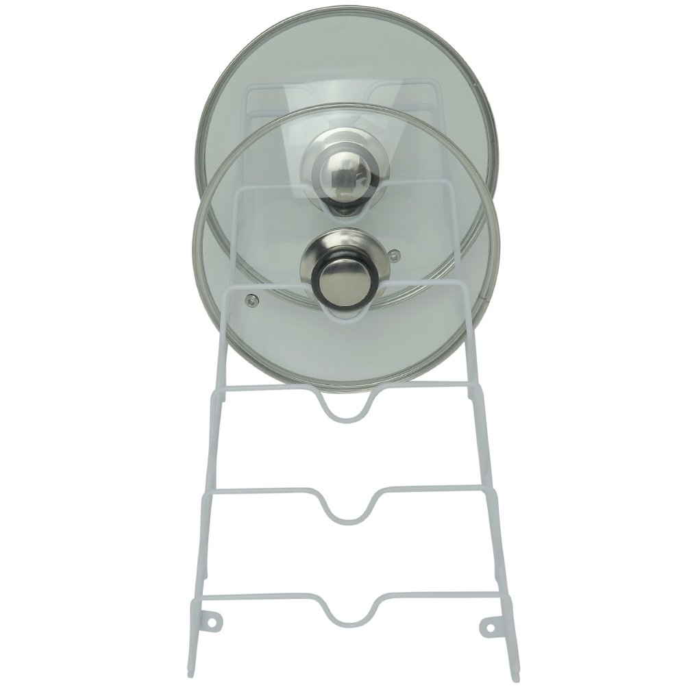 Evelots Cabinet Door and Wall Pot Lid Storage Rack for 6 Pot/Pan Covers