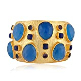 Gold Plated Chalcedony Gemstone Cuff Bangle Bracelet for Women