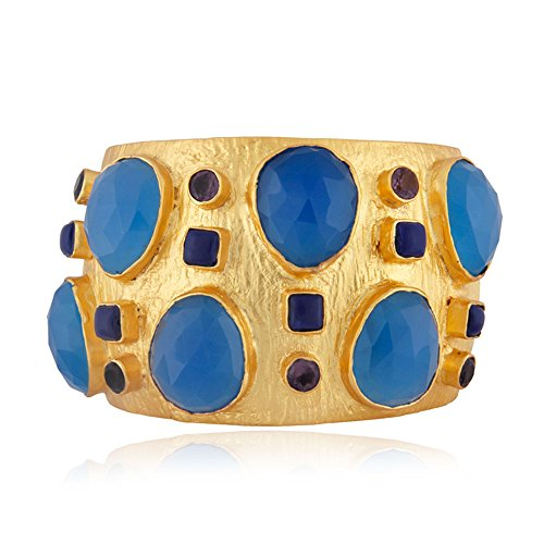 Gold Plated Chalcedony Gemstone Cuff Bangle Bracelet for Women by Dhruvansh Creations