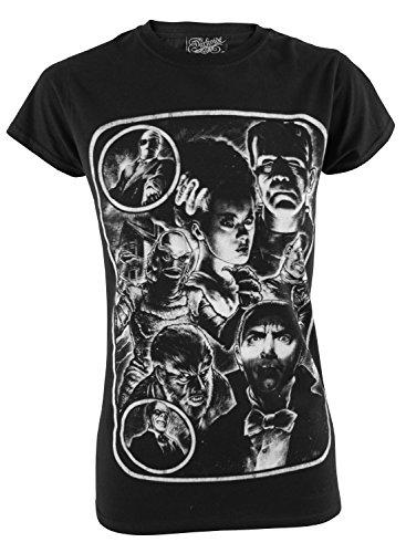 Darkside Clothing Damen T-Shirt Schwarz Schwarz