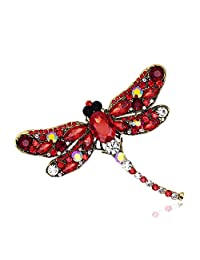 Romanlin Women&Mens Brooch Pins Alloy Rhinestone Dragonfly Badges Jewelry Accessories Collar Pins for XMAS Gifts