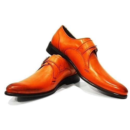 Modello Braga - Cuero Italiano Hecho A Mano Hombre Piel Naranja Monk Zapatos Oxfords - Cuero Cuero Pintado a Mano - Hebilla: Amazon.es: Zapatos y ...