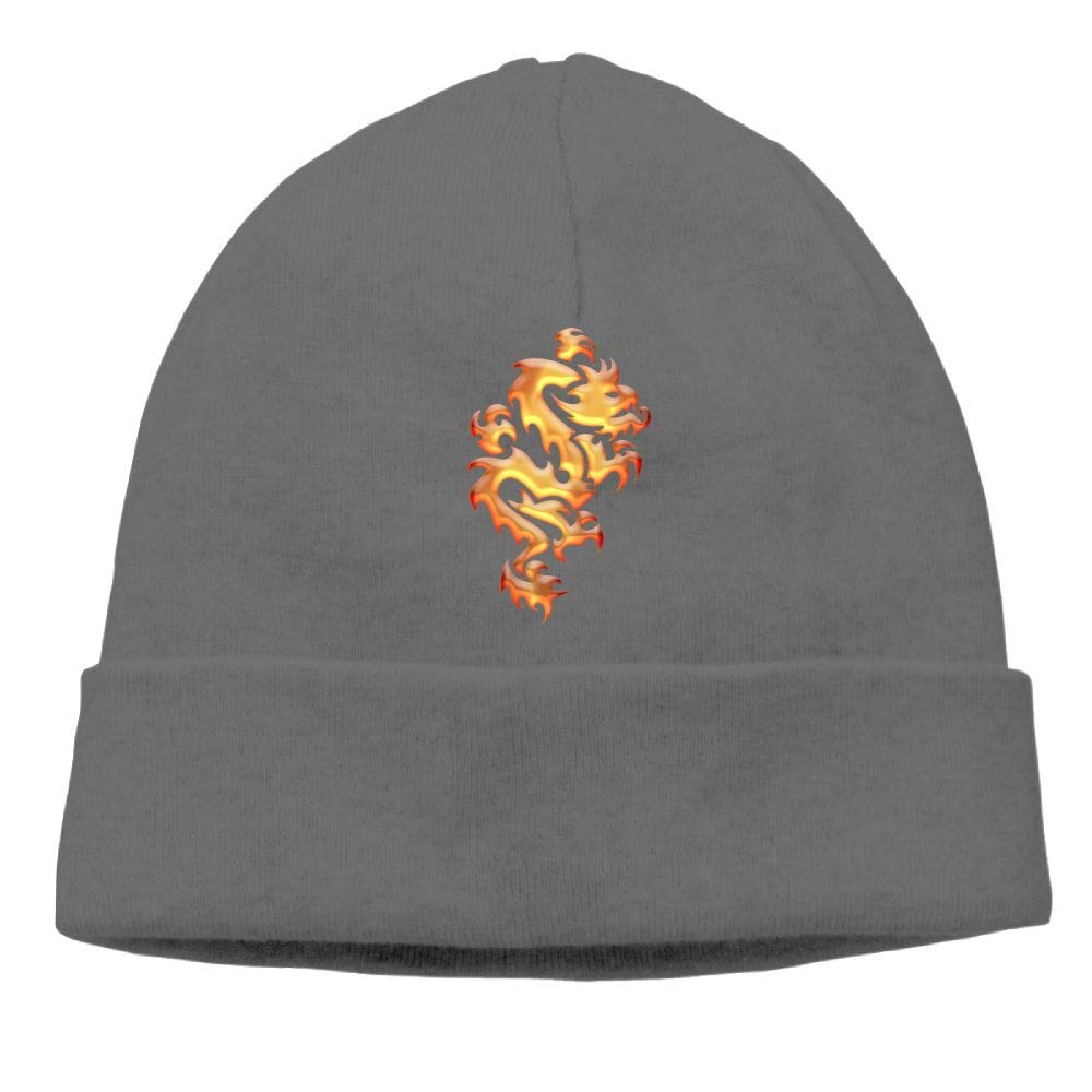 Beanies Knit Hats Ski Caps Burning Golden Fire Dragon Mens