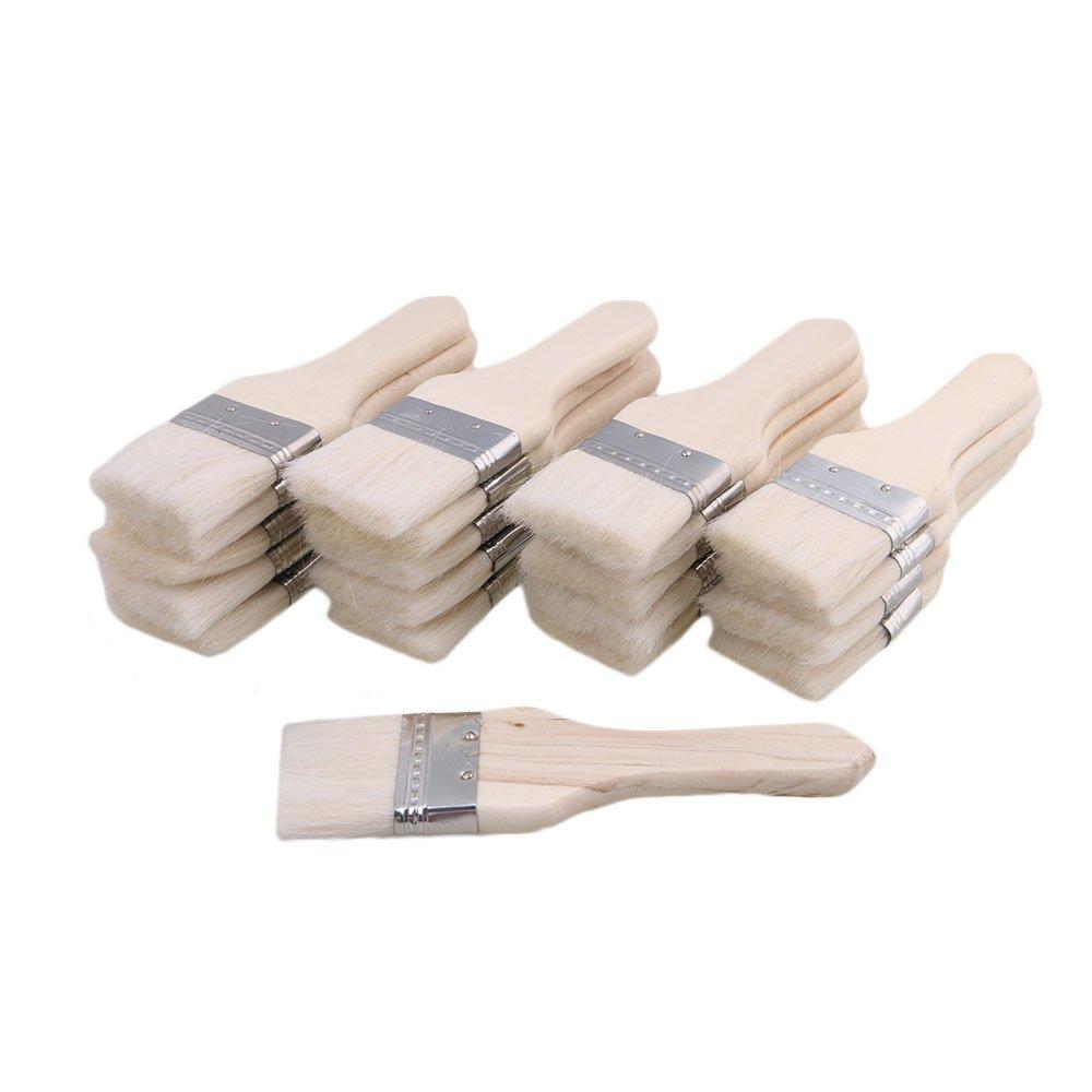 Yibuy 20pcs White Wood Handle Chip Bristles Brush Oil Paint Brushes 1.8 inch etfshop M7170718015