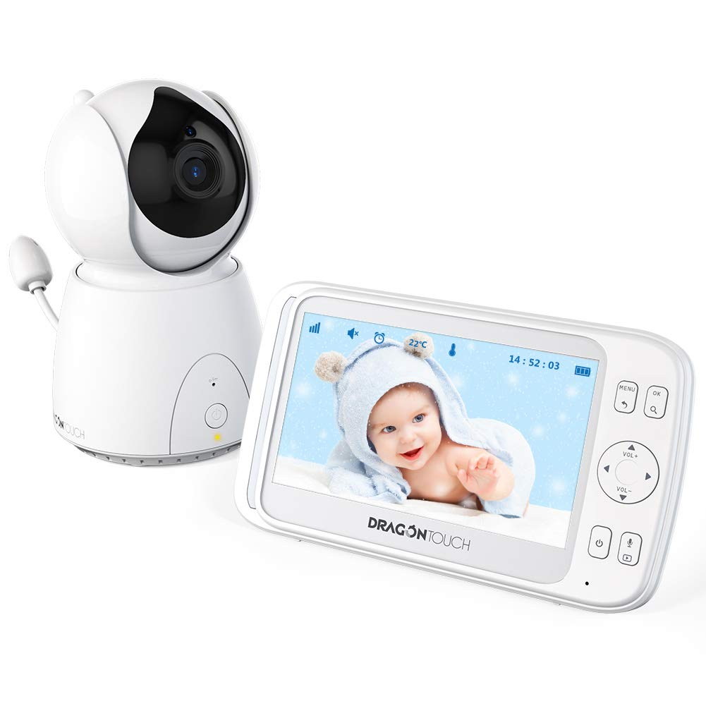 Dragon Touch DT50 5 Inch Wireless Digital Video Baby Monitor, Auto-Motion Tracking Baby Camera, Pan & Tilt, Two-Way Audio, Lullaby, Night Vision, Audio Only Mode and Temperature Monitoring Capability by Dragon Touch (Image #1)