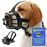 Soft Basket Dog Muzzle with Adjustable Straps, Prevents Barking, Chewing and Biting Allows Panting and Drinking, Secure fit , Black, Free How to Train E-mail Guide for Safety (Size 5 15''-4'')