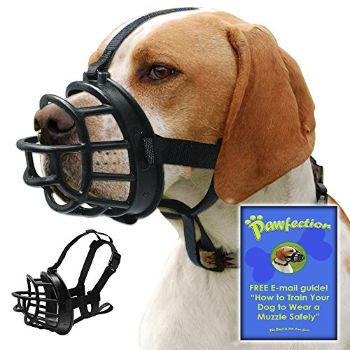 Soft Basket Dog Muzzle with Adjustable Straps, Prevents Barking, Chewing and Biting Allows Panting and Drinking, Secure fit , Black, Free How to Train E-mail Guide for Safety (Size 5 15''-4'') by Pawfection