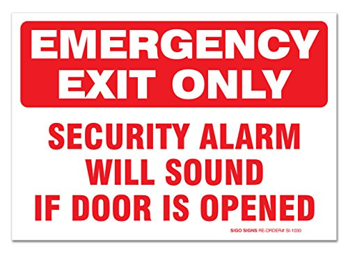 ((2 Pack) Emergency Exit Only Sign, Self Adhesive 7 X 10
