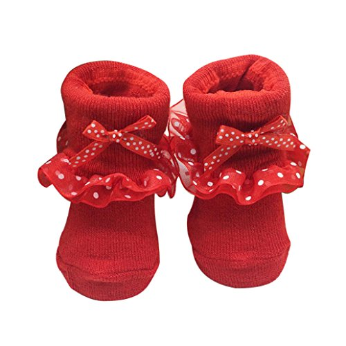 TRENDINAO Newborn Toddlers Girls Combed Cotton Bowknots Ankle Princess Socks