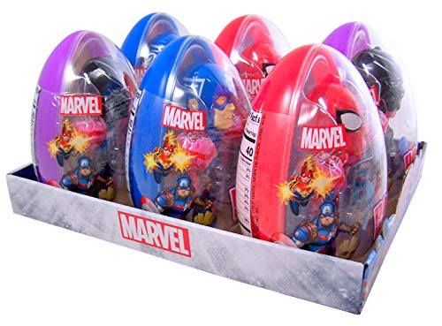 Marvel Avengers Giant Easter Eggs with Assorted Character Pop Ups Lollipop Case and Suckers, Pack of -