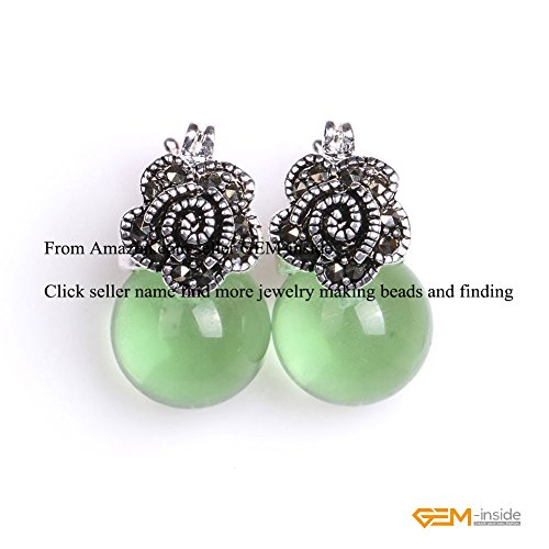 GEM-inside 12mm Round Green Cat Eye Beads Tibetan Silver Marcasite Flower Earrings (Round Green Cats Eye)