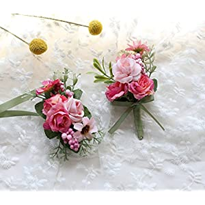 Flonding Wedding Wrist Corsage and Brooch Boutonniere Set Party Prom Hand Flower Suit Decor (Rose) 91