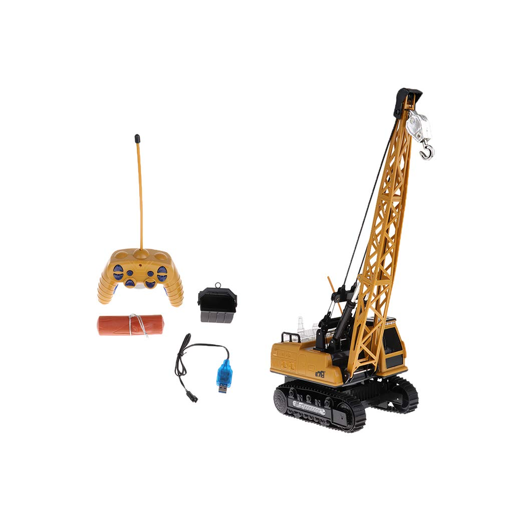 Baoblaze 21x14x50cm Remote Control Crawler Crane Toy Lift Up Construction Activity Playset with Working Tower Light Tower Music