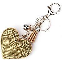 Diseño romántico Amor Corazón Llavero Mujeres Rhinestone Beads llavero bolso colgante borla larga llavero joyería