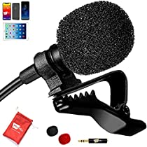 Best Professional Lavalier Lapel Microphone with Easy Clip On System | Perfect for Recording Youtube Vlog Interview / Podcast | Best Mic for iPhone iPad iPod Android MacPC