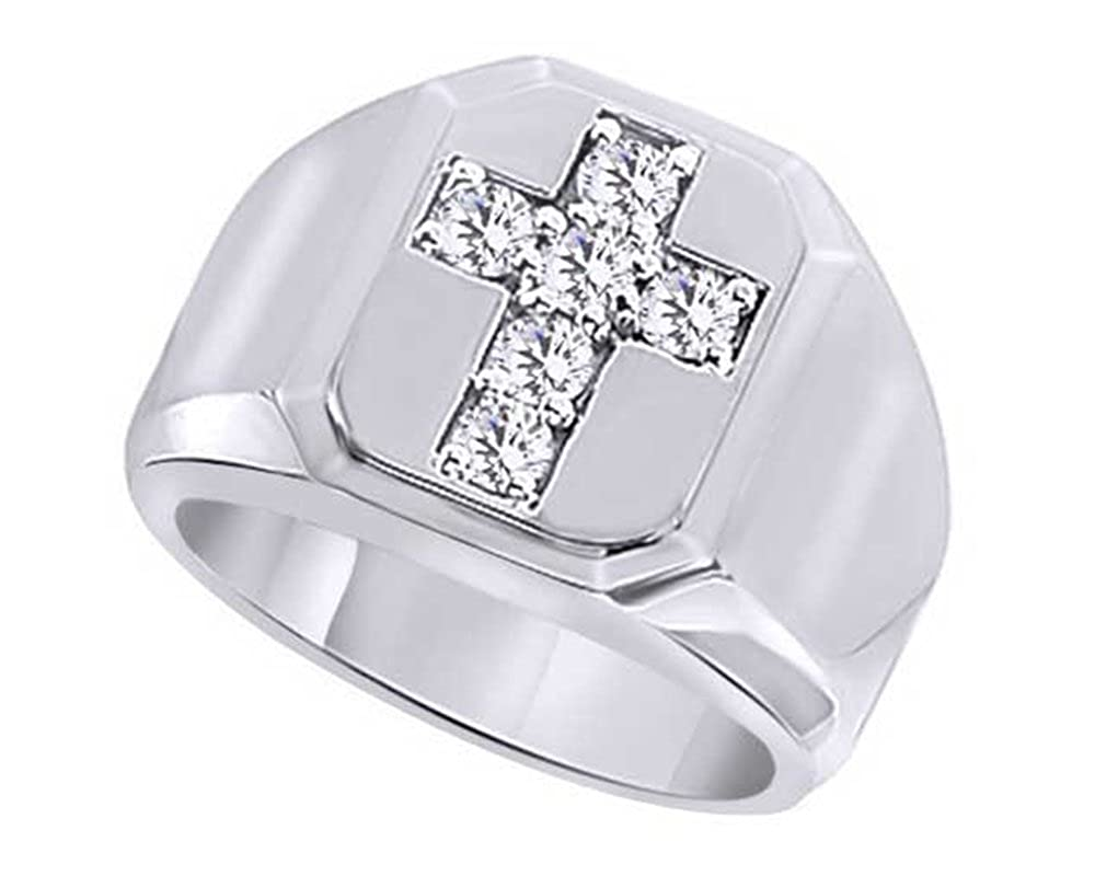 Wishrocks Round Cut White Cubic Zirconia Hip Hop Mens Cross Ring in 14K Gold Over Sterling Silver