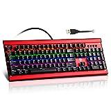 Mechanical Gaming Keyboard, EasySMX LED Backlit Keyboard Blue Switch Sensitive Reaction 104 Keys and 11 Multimedia Shortcut Keys for PC Gamer