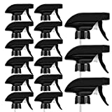 AMORIX 15PCS Trigger Sprayer Black Spray Top Heavy Duty Replacement Nozzle with Mist Stream Sprayer, Fits Standard 28/400 Neck Boston Round Trigger Spray Bottles + Free Tag Label Stickers & Essential Oil Key Tool