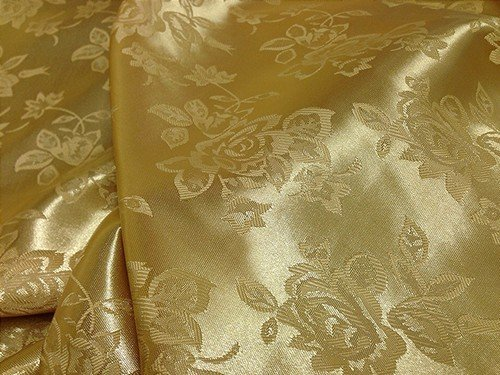 Gold Floral Satin Jacquard Brocade Fabric 60