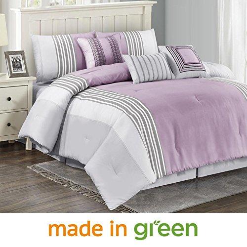 "Price comparison product image Wonder Home 7-pc. Geometric Lavender Comforter Set, Luxury Microfiber Comforter, Oversized & Overfilled, Super Soft, Medium Weight, Queen, 92""x96"""