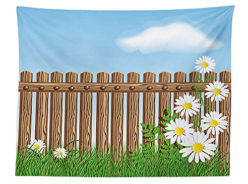 vipsung-farm-house-decor-tablecloth-cartoon-style-featured-jardin-fence-with-daisy-fern-foliage-unde