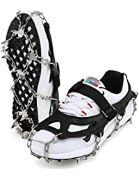 """Traction Cleats Ice Snow Grips ARAER Anti Slip18 Stainless Steel Teeth Ice Boots Spikes Crampons Stretchable Fit to Size 8"""" - 10"""" Shoes for Men Women Walking Hiking Mountaineering"""