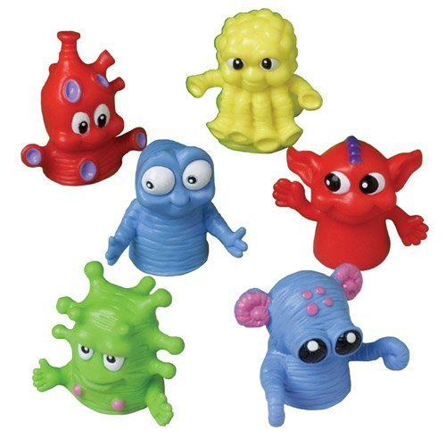 Finger Alien Puppets - US Toy - Dozen Assorted Color Monster Finger Puppets -1.5