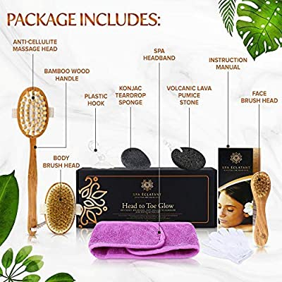 Dry Brushing Body Brush, Skin Exfoliating 9Pc Pampering Women's Gift Set. Lymphatic Drainage, Cellulite Massager, Head to Toe Luxury Bath Spa Set for Glowing, Healthy, Revitalized Skin!