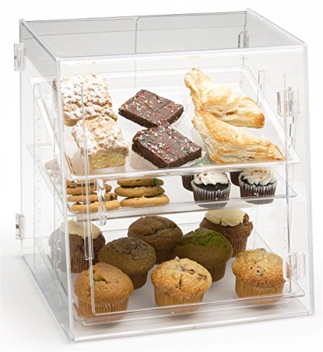 Clear Acrylic Pastry Case with 3 Removable Trays, Front and Rear Doors - 16.25