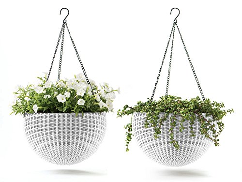 White Resin Planters - Keter 237998 Hanging Planter Set, White, Oasis White