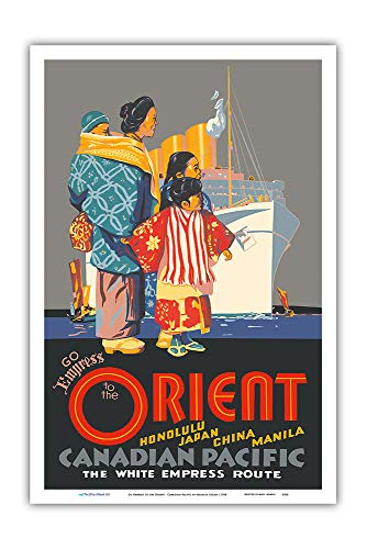 - Pacifica Island Art - Go Empress to The Orient - Honolulu, Japan, China - Canadian Pacific - Vintage Ocean Liner Travel Poster by Maurice Logan c.1934 - Master Art Print - 12in x 18in