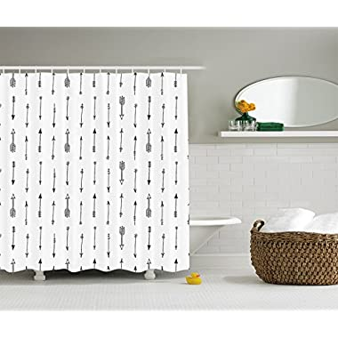 Ambesonne Arrow Decor Collection, Retro Pattern Ethnic Doodle Art Tribal Design with Arrows Image Print, Polyester Fabric Bathroom Shower Curtain Set with Hooks, 84 Inches Extra Long, Black and White