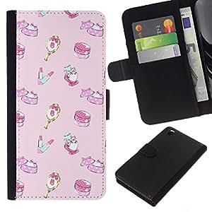 For HTC DESIRE 816 Case , Sweets Birthday Children'S Pink - la tarjeta de Crédito Slots PU Funda de cuero Monedero caso cubierta de piel