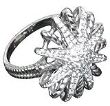 Designer Inspired 14k White Gold Plated Starburst Ring studded with Lab Grown Diamonds