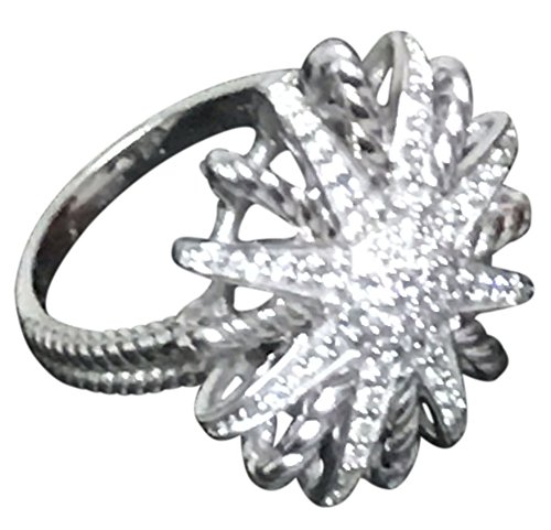 David Ring Yurman Diamond - Designer Inspired 14k White Gold Plated Starburst Ring studded with Lab Grown Diamonds