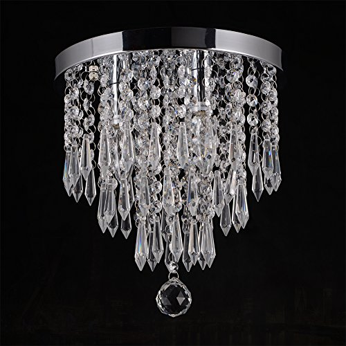 Review Hile Lighting KU300107 Crystal Chandeliers Flush Mount Ceiling Light Lamp,Diameter 11.0 Inch Height 11.8 Inch, 3 Lights