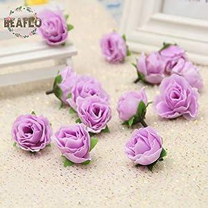 HATABO Flowers Small Tea Flower 10PCs/lot Artificial Small Tea Buds Rose Flower Heads Silk Flower for Wedding Corsage Jewelry Home Decorative (Random) 4