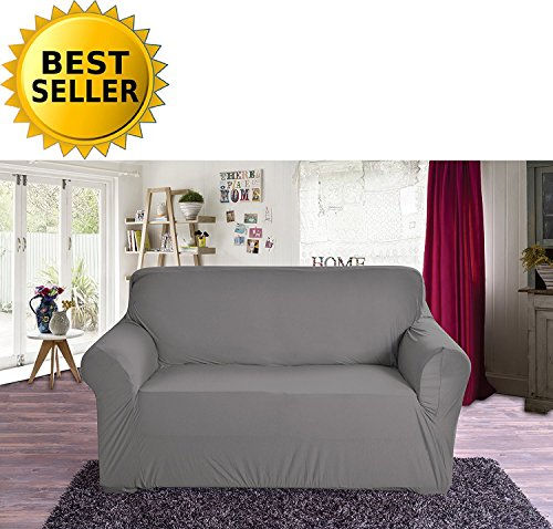 Elegant Comfort Collection Luxury Soft Furniture Jersey STRETCH SLIPCOVER, Sofa Gray from Elegant Comfort