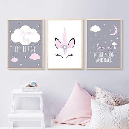 3 Affiches 30x40 Enfant Tableaux Deco Murale Chambre Bebe Animaux Licorne Citations Nuage Posters Peinture Sur Toile Decoration Cadeaux Fille Garcon Nptwc001 M Amazon Fr Cuisine Maison
