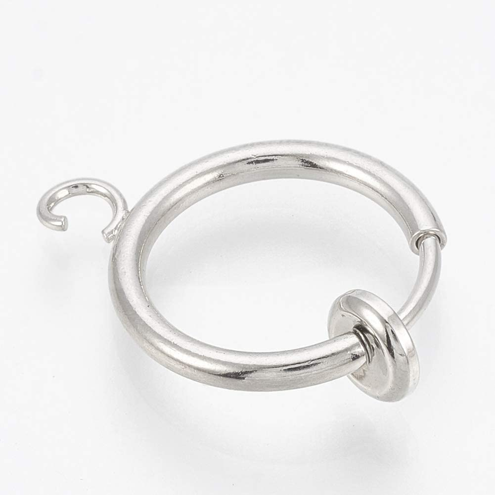 Hole 1.5mm UNICRAFTALE About 20pcs 316 Stainless Steel Clip-on Hoop Earrings for Non-Pierced Ears with Brass Spring Findings Platinum Charms for DIY Jewelry Making 18x15x1.5mm