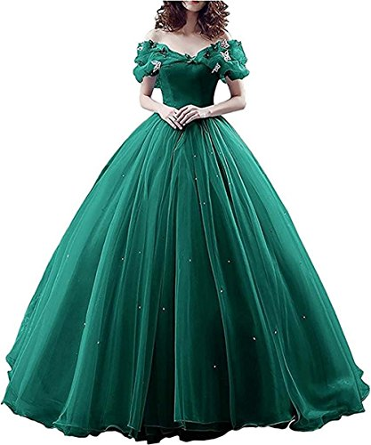 JINGDRESS Cinderella Quinceanera Dresses Tulle Princess Ball Gown Lace Up (Forest Green,14) by JINGDRESS