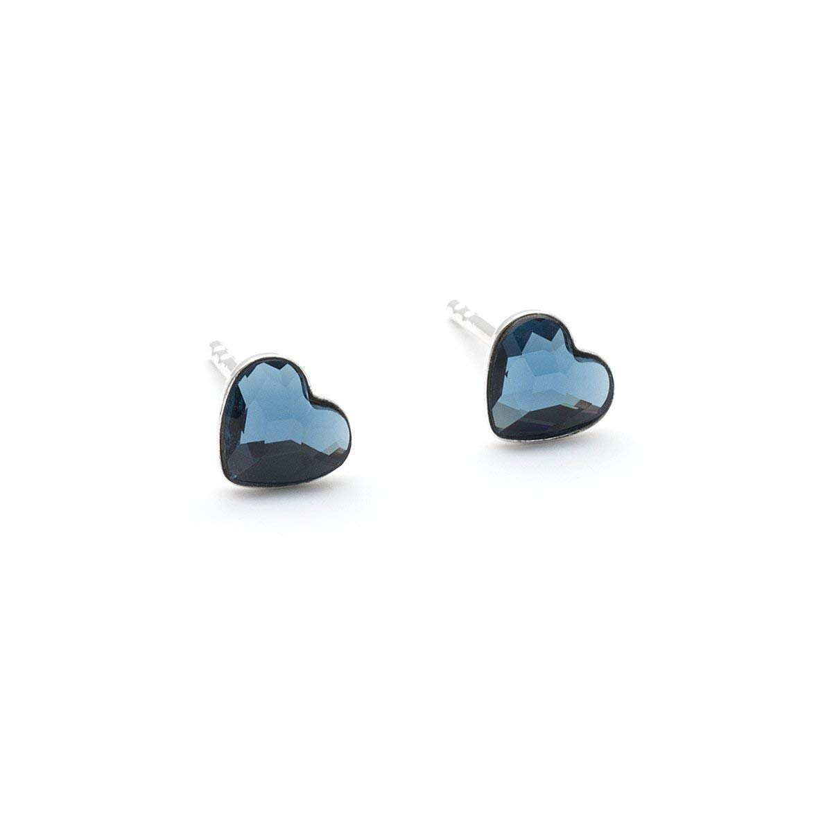 Tiny denim blue Swarovski Heart dainty stud crystal 6mm sterling silver 925 post earrings