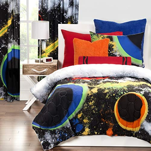 3 Piece Multi Color Out Of This World Comforter Set Full Queen, Black Blue Green Grey White Graphic Print Outerspace Galaxy Teen Themed Spacestar Kids Bedding For Bedroom Eye Catchy - This Comforter World Out Of
