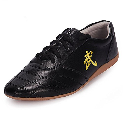 BJSFXDKJYXGS Chinese Wushu Shoes taolu Kungfu Shoes Practice Martial Arts Shoes Taichi Shoes for Men Women Adults Fashion Sneakers (US10.5//EUR46//28CM, Black)