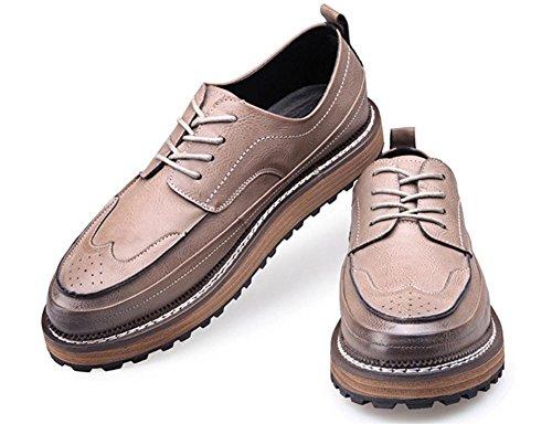 Hombres Cuero Zapatos Toro castrado Tallado Ocio Encajes Grueso Fondo Plano Mocasines marrón Negro Gray
