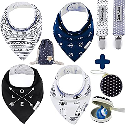 Baby Bandana Drool Bibs by Dodo Babies + 2 Pacifier Clips + Pacifier Case in a Gift Bag, Pack of 4 Premium Quality For Boys or Girls , Excellent Baby Shower / Registry Gift by Dodo that we recomend individually.