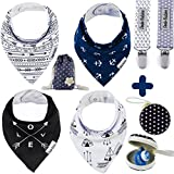 Baby : Baby Bandana Drool Bibs by Dodo Babies + 2 Pacifier Clips + Pacifier Case in a Gift Bag, Pack of 4 Premium Quality For Boys or Girls , Excellent Baby Shower / Registry Gift