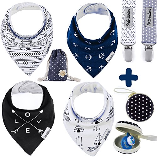 Baby Bandana Drool Bibs by Dodo Babies + 2 Pacifier Clips + Pacifier Case in a Gift Bag, Pack of 4 Premium Quality For Boys or Girls , Excellent Baby Shower / Registry Gift -