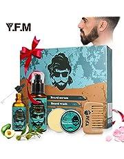 Y.F.M Kit de Cuidado de Barba para Hombres, Cuidado Barba - Champú de Barba 118ml, Serum de Barba 30ml, Bálsamo de Barba 60ml, Peine de Barba - Regalo Ideal para Todas Ocasiones y Aniversarios