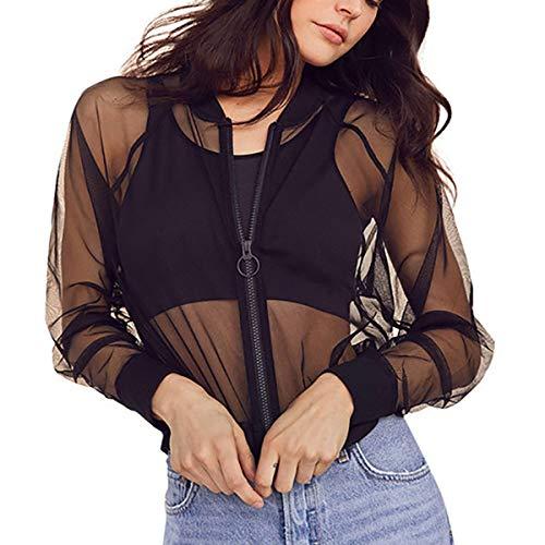 Women's See Through Mesh Bomber Jacket Sexy Mesh Sheer Zip up Long Sleeve Coat Top (XL, Black)